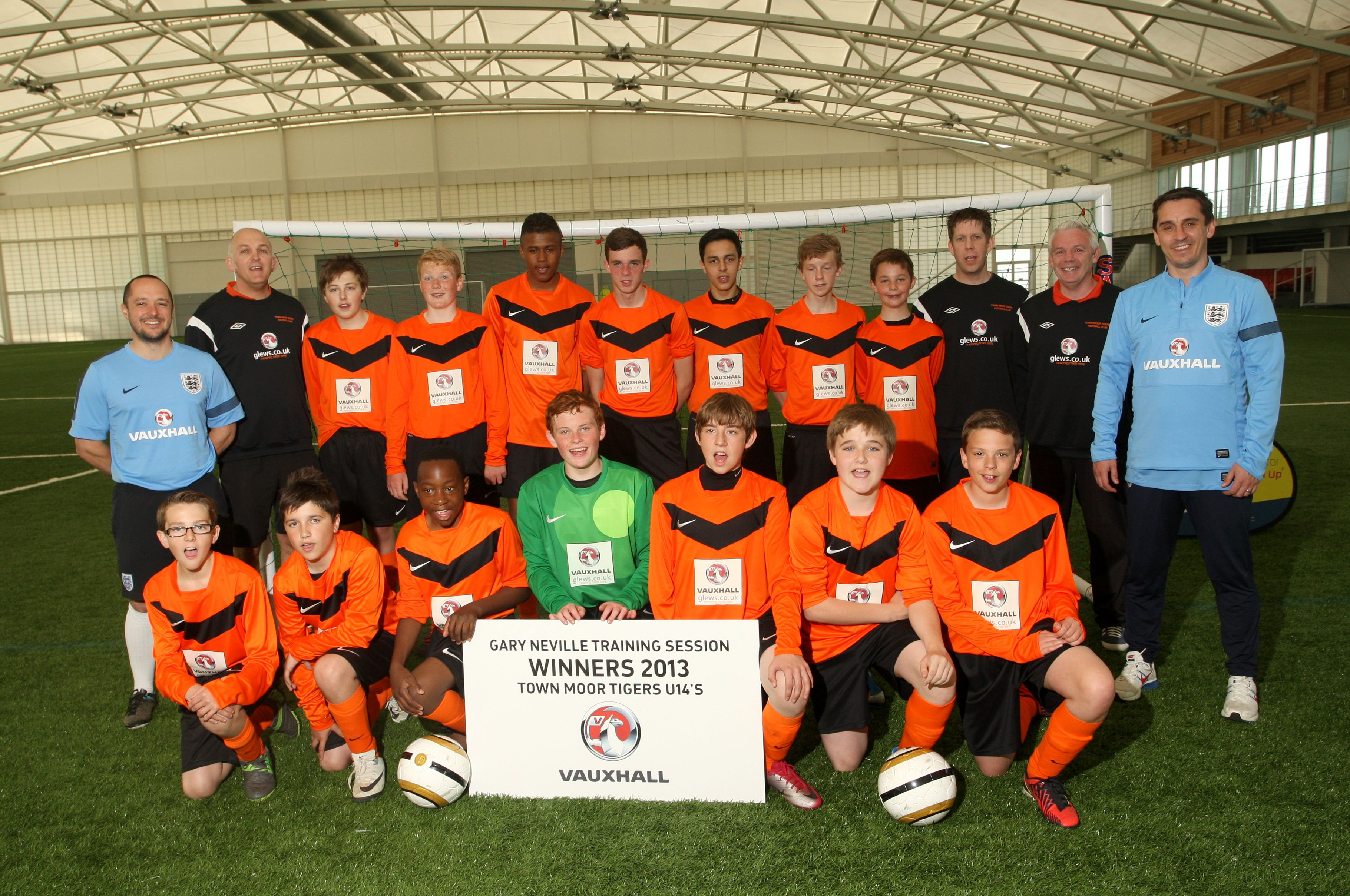 Glews Garage sponsored team put through their paces at St George's Park by Gary Neville